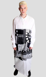 DOPE Oversized Patchwork Shirt Dress in White