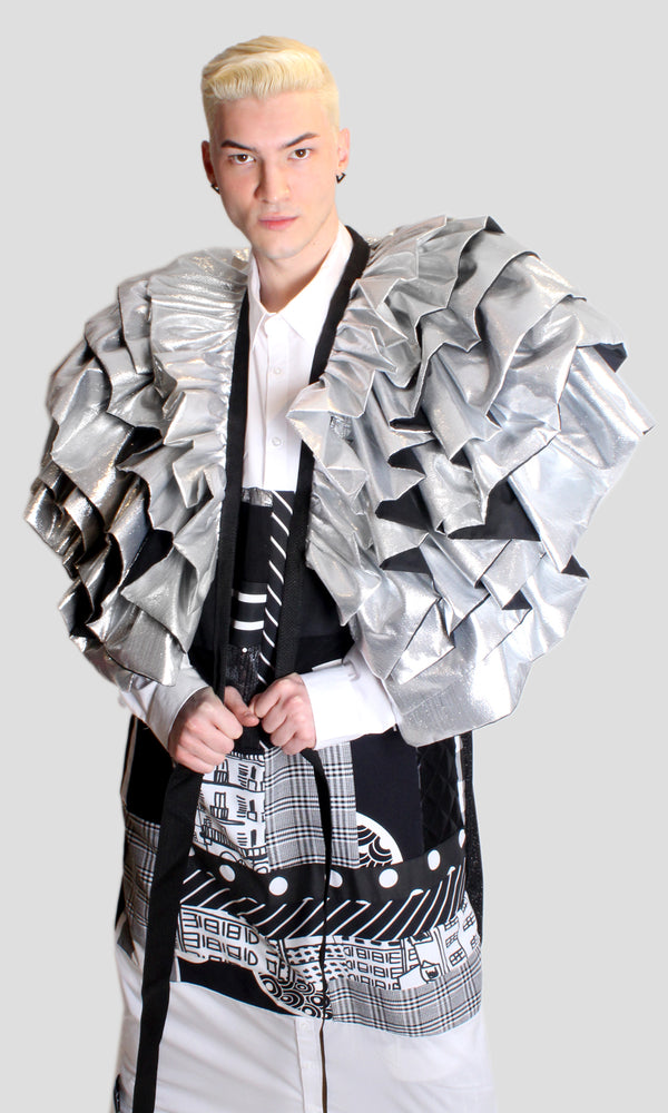 DOPE Ruffle Jacket in Silver