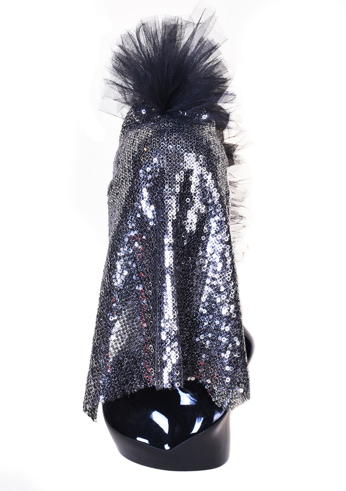 DOPE Sequin Mask w/ Tulle Mohawk - Black