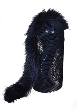 DOPE Mesh Mask w/ Fur Mohawk - Black