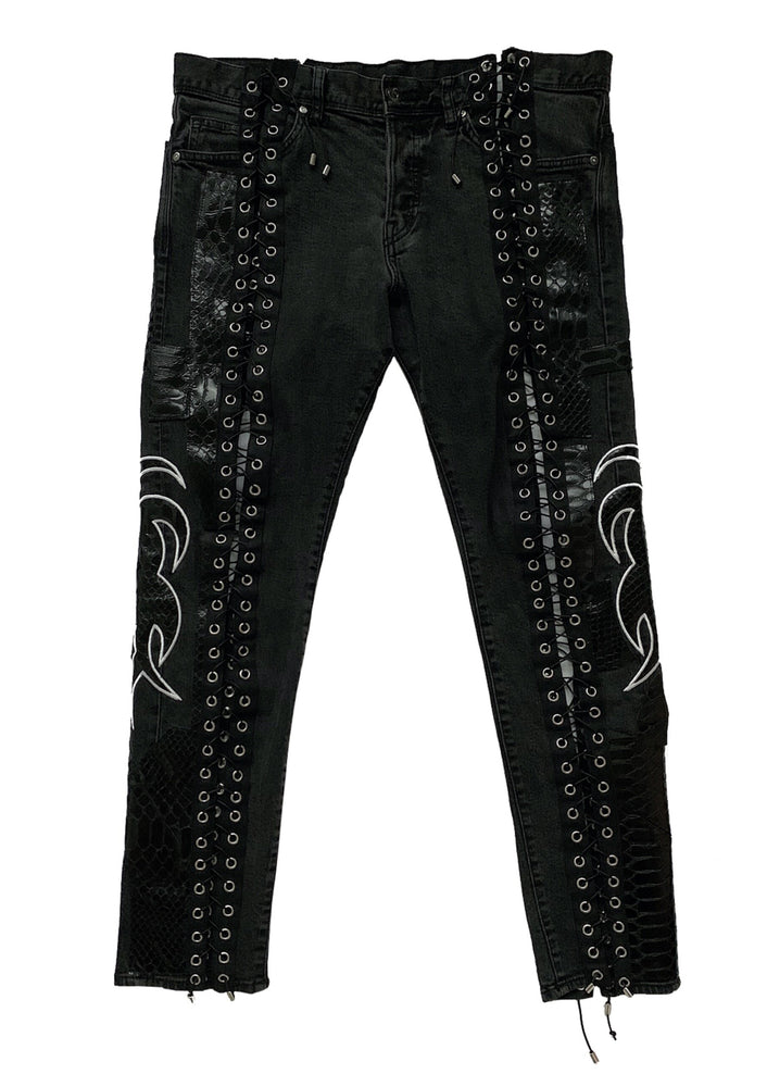 Laced Leather, Denim, and Applique Jeans