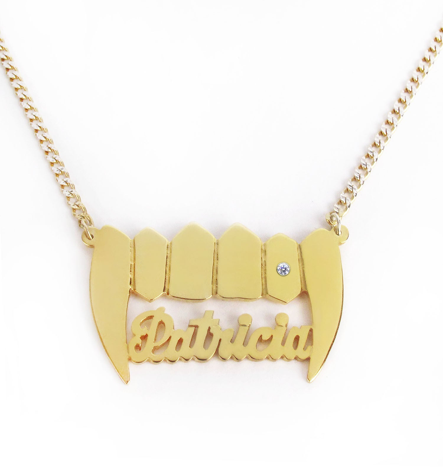 Custom Gold Plated Vamp Nameplate Necklace