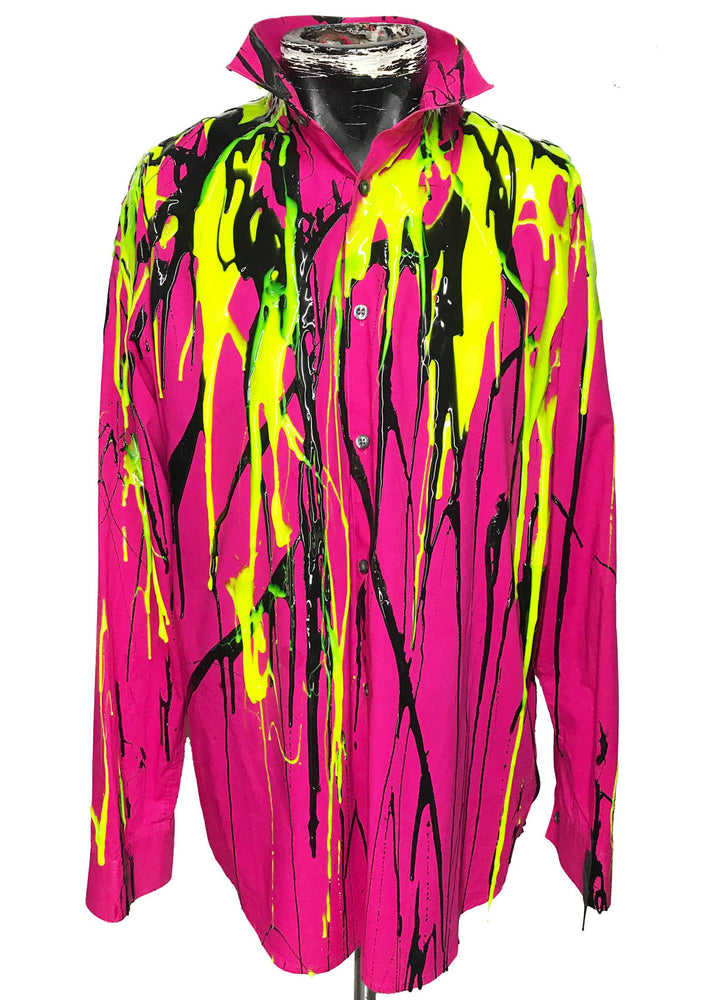 Men's Liquid Silicone Drip Button Down  - Pink / Yellow / Black