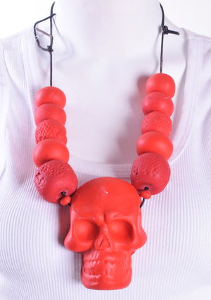 Large Red Skull Beaded Necklace
