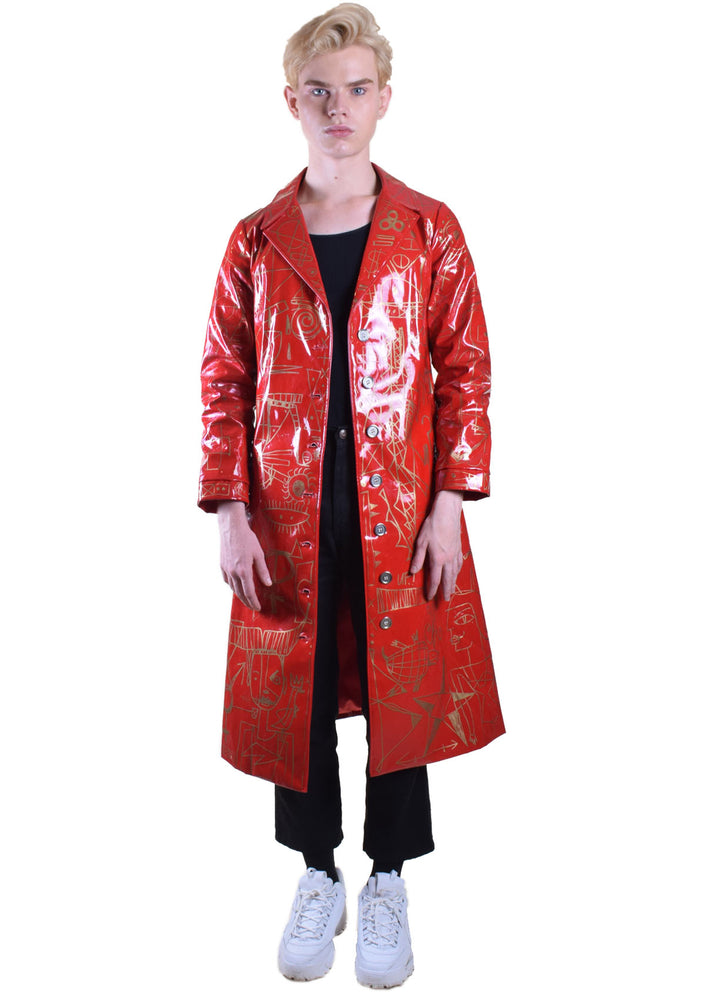 Red & Gold Vinyl Trench Coat