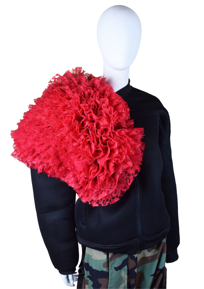 DOPE Ruffle Neoprene Jacket - Red