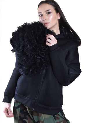 DOPE Ruffle Neoprene Jacket - Black