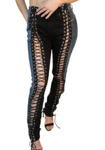 Laced Blue and Black Denim Hybrid Jeans