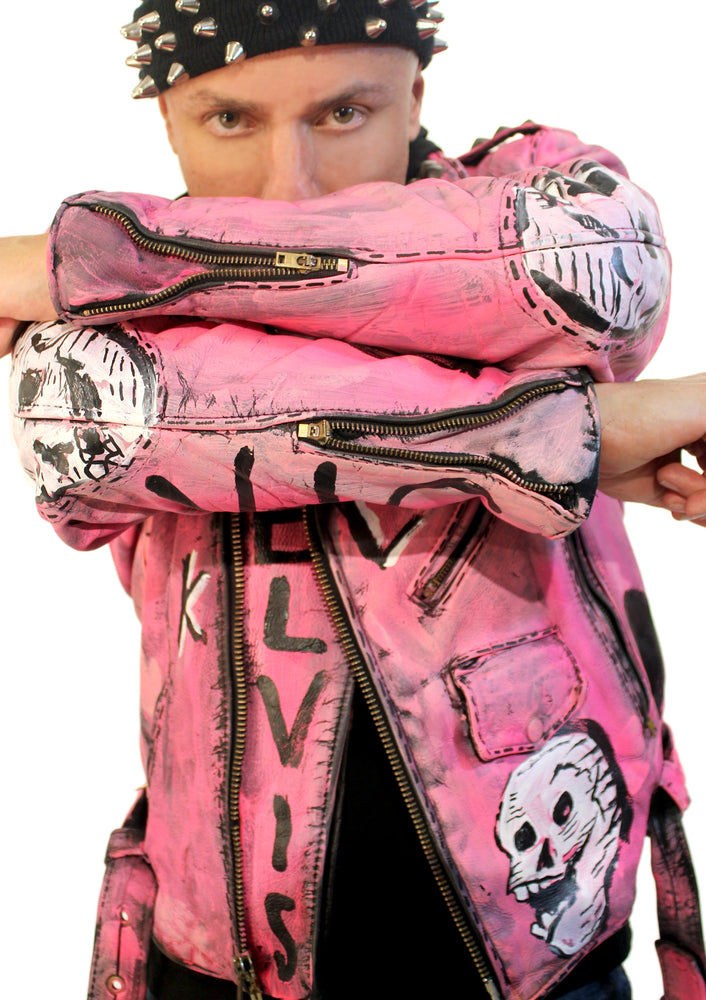 Elvis Pink Ladies Leather Jacket