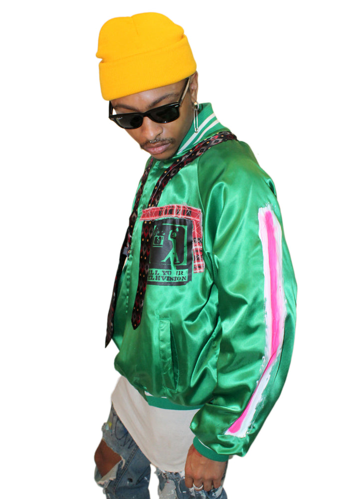 Green Satin Baseball Jacket