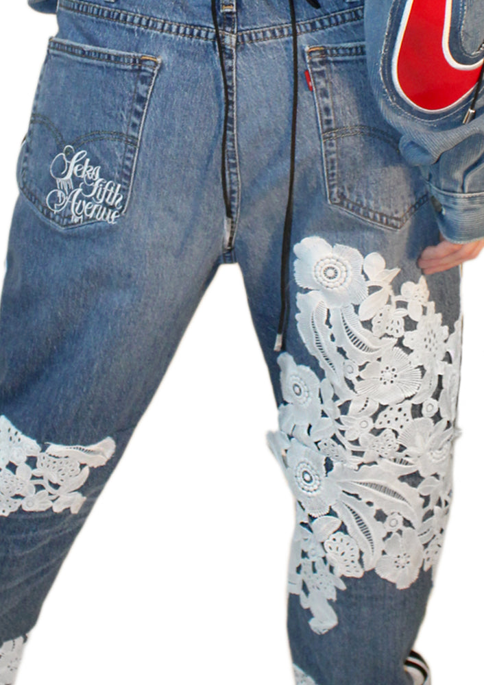Denim and Lace Hybrid Jean