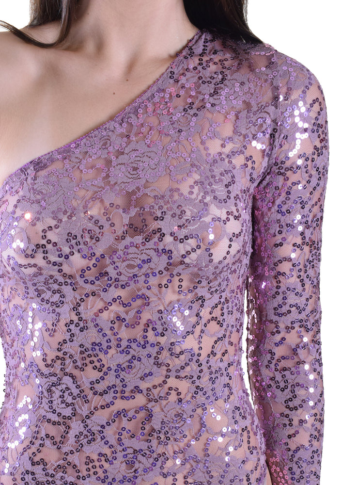 Asymmetrical Lace Sequin Bodysuit