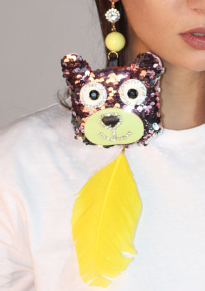 Yellow Feather Sequin Bear Earrings