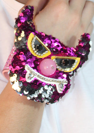 Hot Pink Sequin Monster Cuff
