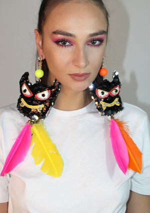 Multi Feather Sequin Monster Earrings