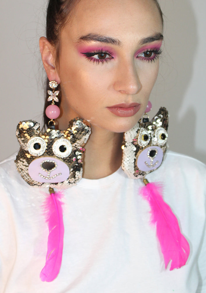 Princess Pink Sequin Bear Earrings
