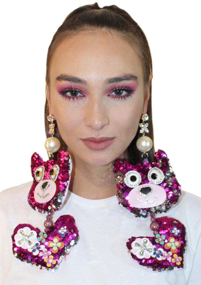 Sequin Bear Heart Earrings