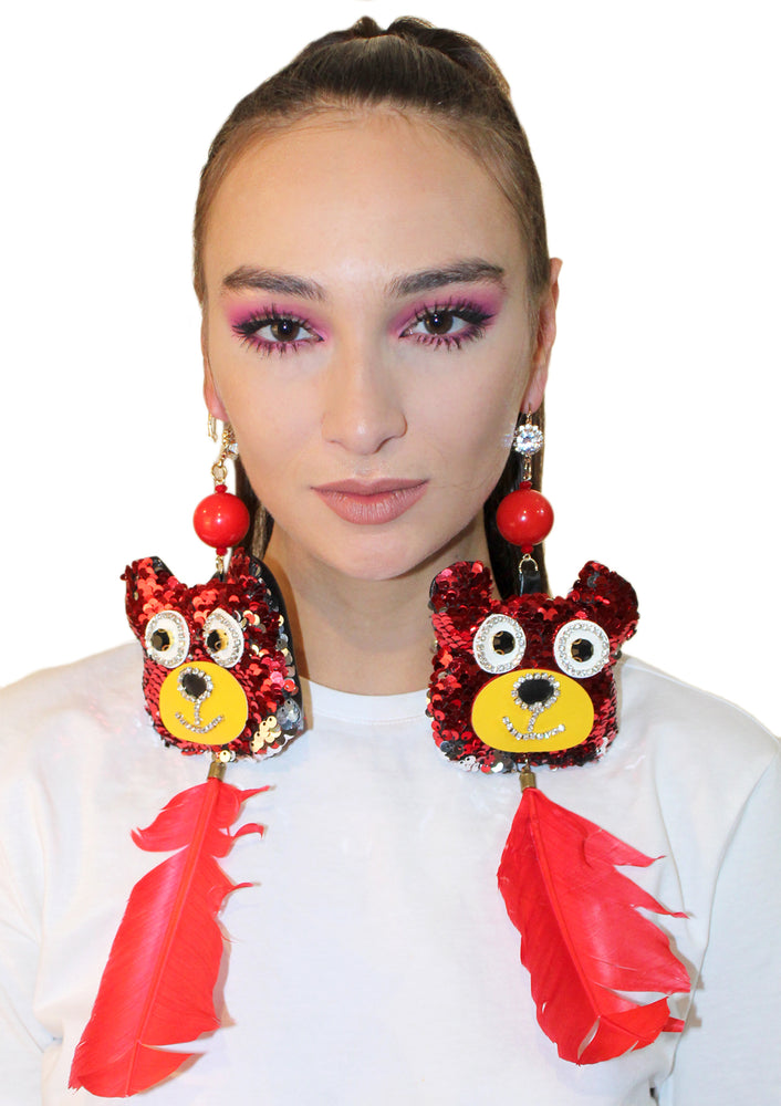 Sequin Bears with Feathers Earrings