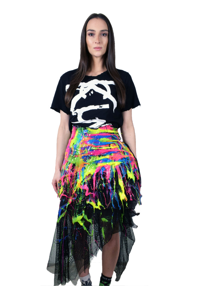 Multi-Fluo Drip Corseted Tulle Skirt
