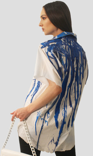 Men's Liquid Glitter Silicone Drip Button Down - Blue Glitter