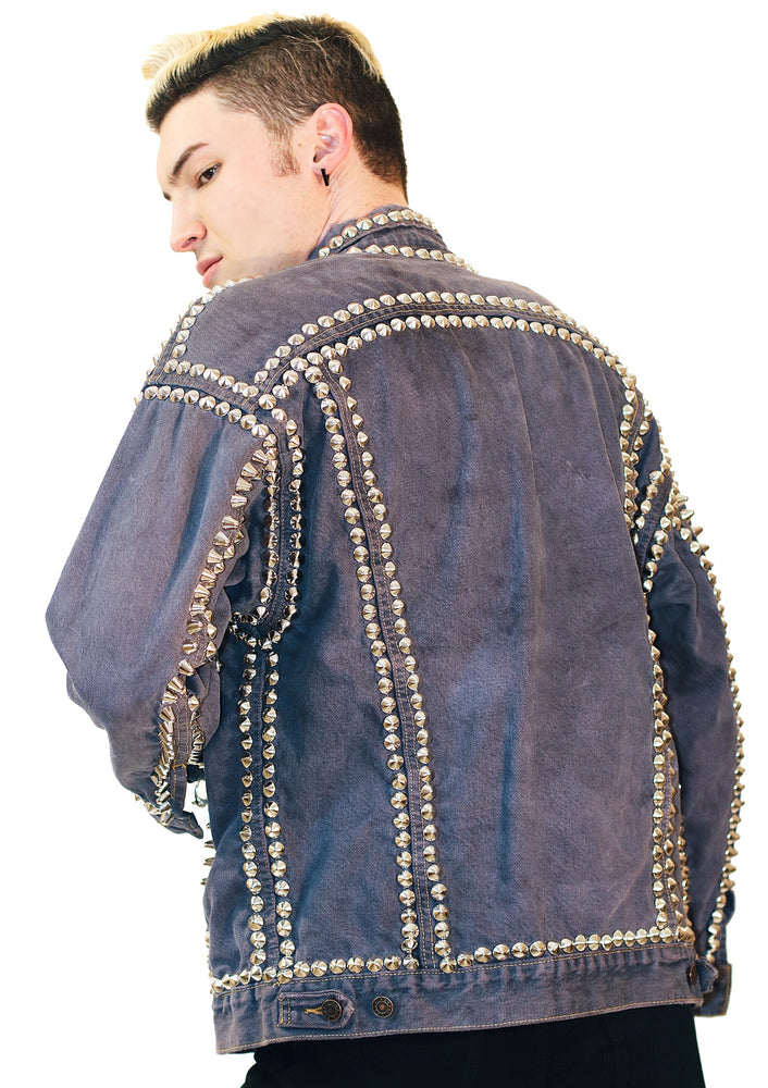 Acid Wash Studded Jacket