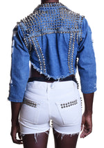 Studmuffin NYC x THESEPINKLIPS Spiked DIRTY Jean Jacket