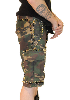 Camo Spiked Cargo Shorts