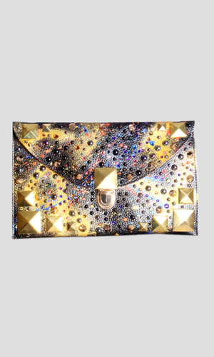Graffitied & Embellished Faux Leather Envelope Clutch in Black