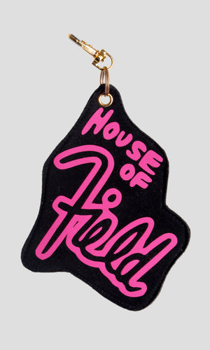 Reflective House of Field Bag Charm - Hot Pink