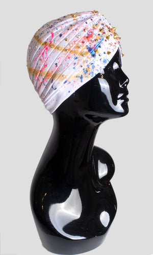 Embellished Highlighted Turban - White Mix