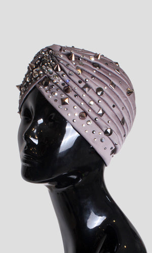Embellished Highlighted Turban - Grey