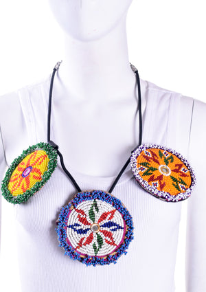 3 Beaded Disk Necklace