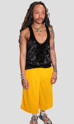 Velvet Samurai Shorts - Yellow