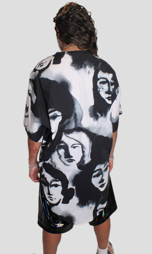 Pop Art Long Cotton Shirt - Faces