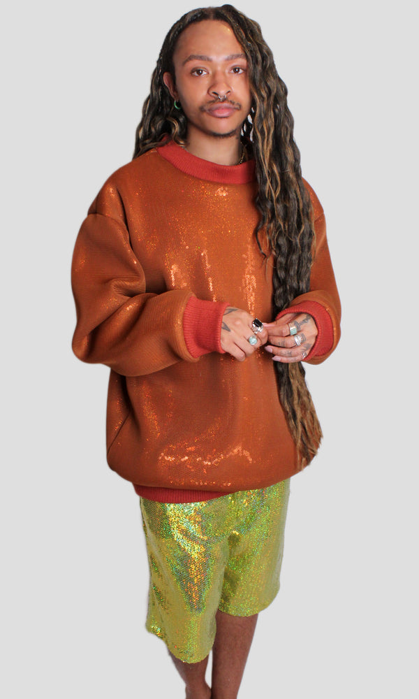 Metropolis Mesh & Sequin Oversized Sweatshirt - Orange
