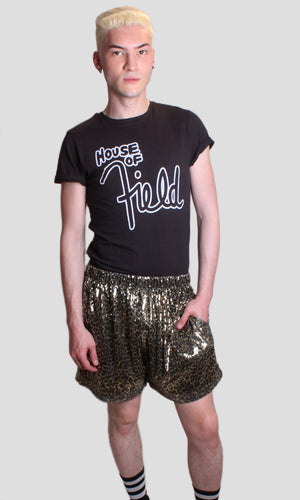 Gold Sequin Leopard Micro Shorts