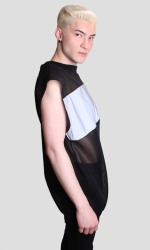 Gothic Light Reflective Sleeveless Mesh Sweatshirt