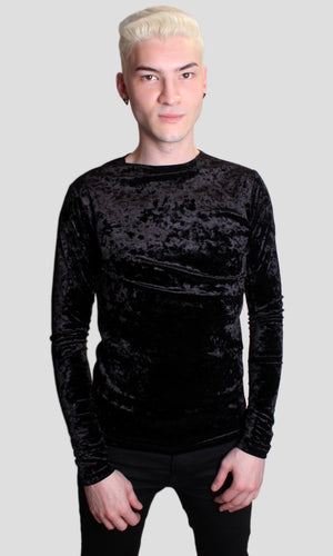 B Boy Velvet Muscle Shirt - Black