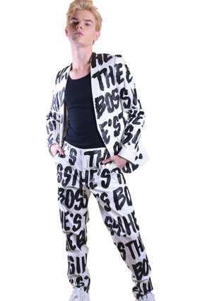 She's The Boss Suit - White / Black