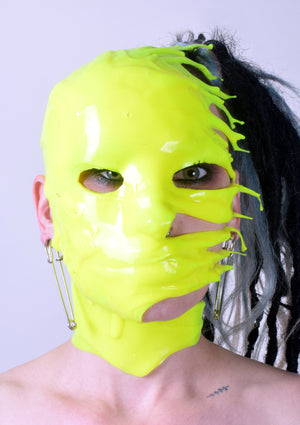 HalfFace DRIP Liquid Metal Silicone Mask - Dayglow Yellow