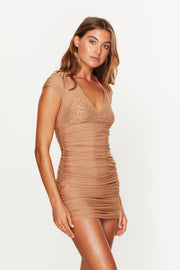 Gold Ruched Beach Dress