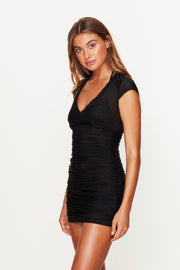 Black Ruched Beach Dress