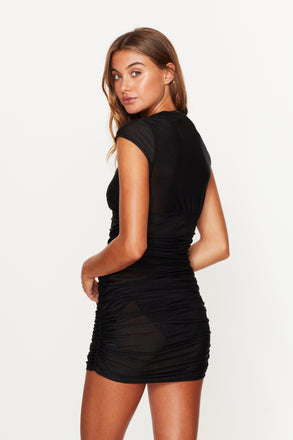 Load image into Gallery viewer, Ruched Beach Dress Black