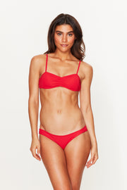 Red Ruched Bikini Bottoms