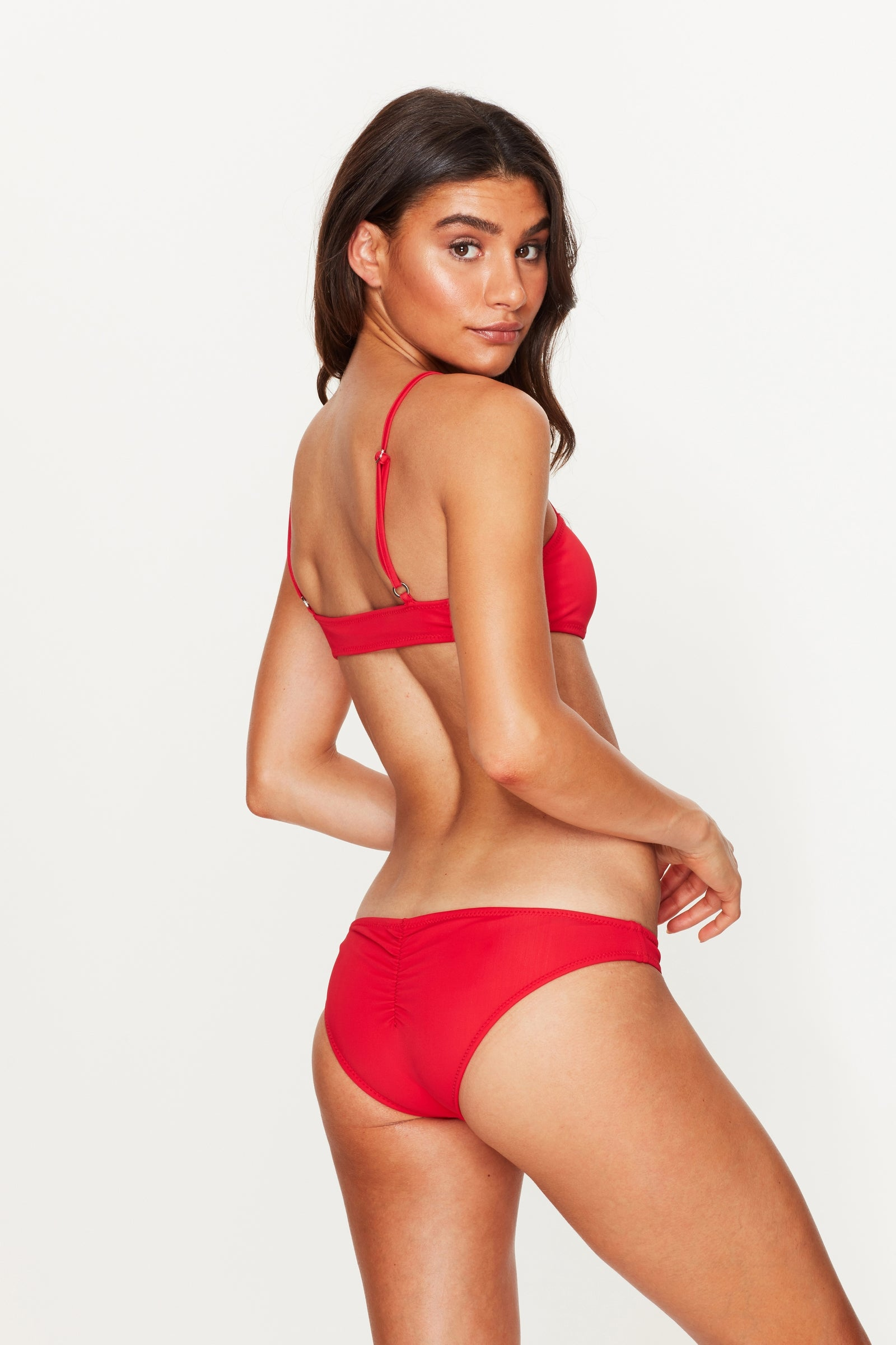 Ruched Bikini Bottoms Red