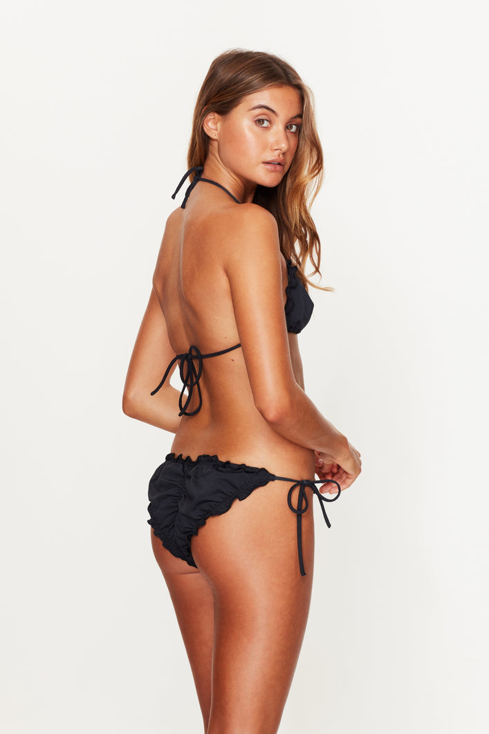Ruffle Tie Side Bottoms Black