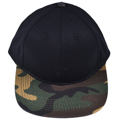 52e3ddbe3b200a Black hat with green camo bill. Size 5Y and up.
