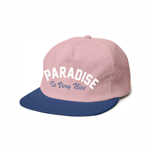 591754c33237e4 Pink hat with white and royal blue print. Youth Size (6-10 Years