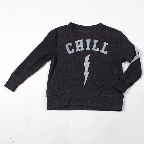 5a8d591d21fc44 Very dark grey (almost black) top with white print. Tag reads: 10