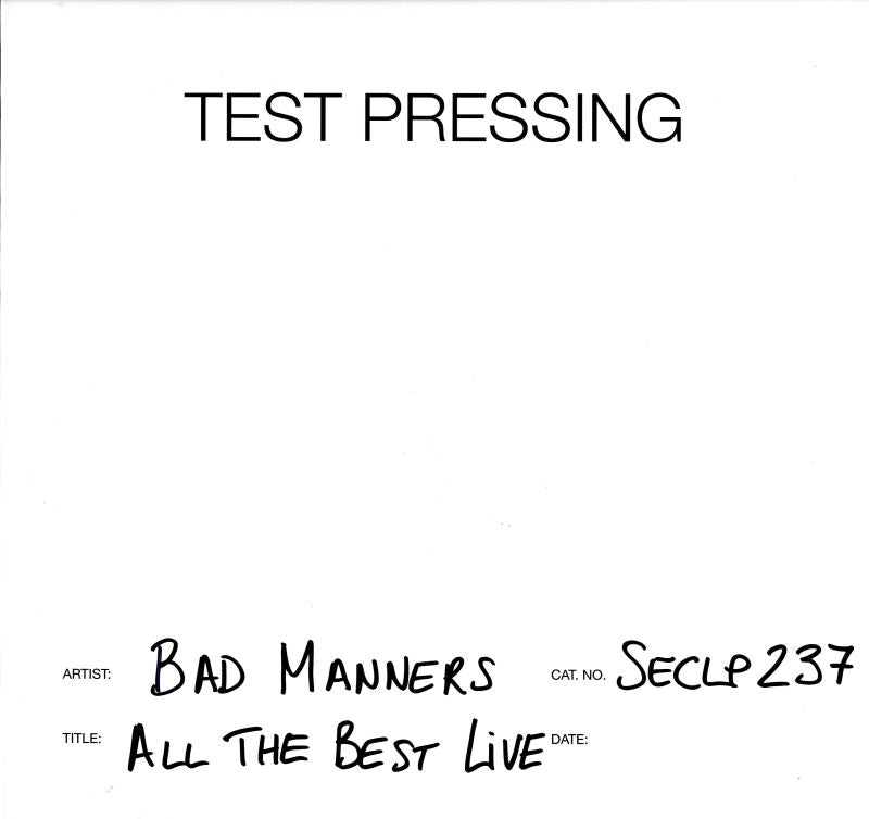 Bad Manners - All The Best Live - Vinyl LP Test Pressing